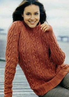 Модели вязания: Пуловер с косами