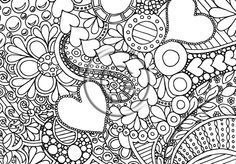 """Instant Download Coloring Page Hand Drawn Zentangle Inspired Psychedelic """"Bubbly Hearts"""" Abstract Zendoodle Doodle Hippie By Kat"""