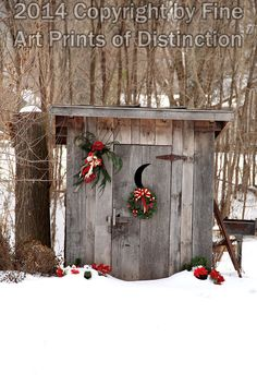 Christmas Country Outhouse Art Print - Premium Glossy Paper / 16 x 24