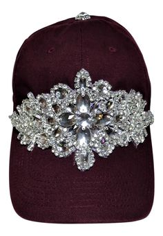 NEW! Bling Large Motif Burgundy Baseball Cap! Beautiful! Order now at www.shopspiritcaps.com! Custom Embroidered Hats, Embroidered Baseball Caps, Painting Backpack, Hat Decoration, Diy Hat, Love Hat, Caps For Women, Upcycled Vintage, Headbands