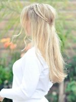 Braided half-up Hairstyle: do this but with bigger braids