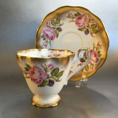Royal Standard Tea Cup and Saucer English Bone China Heavy Gold Teacup England