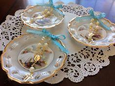 12 BAPTISM FAVORS Blue Bow Plates W Rosary Recuerdito1st Communion wedding party #baptismcommunionwedding
