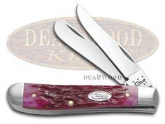 CASE XX Jigged Magenta Bone Mini Trapper Stainless Pocket Knife - CA60427 | 60427 - 021205604275