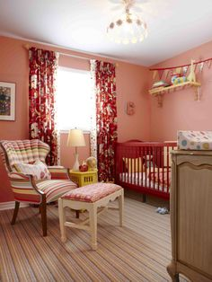 Love the striped carpet and fun color of the crib