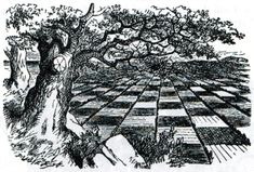 Illustration to the second chapter of Through the Looking Glass by John Tenniel. Wood-engraving by the Dalziels.