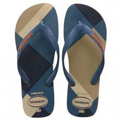 New Mens Havaianas Black Top Stripes Logo Textile Sandals Flip Flops