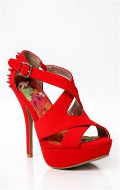 Deb Shops #red strappy high heel with tonal spikes $38.90