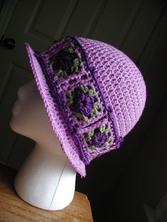 Crochet Cloche Hat with Granny Square Hat Band PDF by buckster