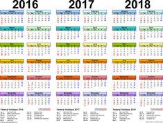 Template 1: PDF template for three year calendar 2016/2017/2018 (landscape orientation, 1 page, in color)