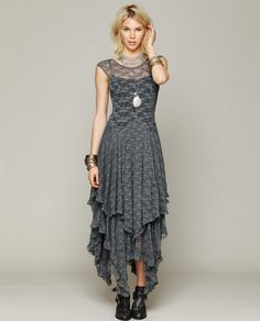 Asymmetrical Hippie Style Dress - Grey Check us out on www.boohoden.space