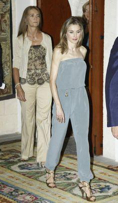 Princess Letizia - Spanish Royal Family Summer Dinner At Almudaina Palace