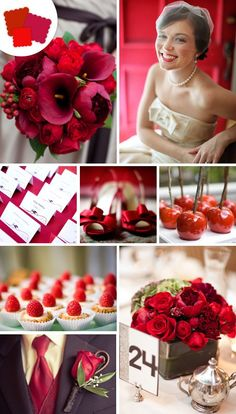 classic wedding colors - different shades of red for the bridesmaid dresses