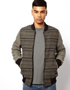 Image 1 of Bellfield Wool Bomber With Pattern