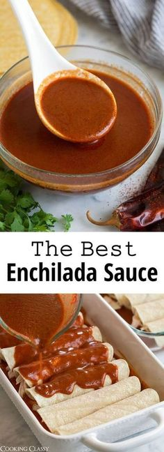 Best Enchilada Sauce {So Flavorful So Easy!} - Cooking Classy,Enchilada Sauce - this is my FAVORITE homemade enchilada sauce! It's a thousand times better than canned and it makes the best enchiladas! You can mak. Best Enchiladas, Homemade Enchiladas, Mexican Enchiladas, Gluten Free Enchiladas, Mexican Cooking, Mexican Food Recipes, Best Mexican Food, Healthy Mexican Food, Mexican Desserts