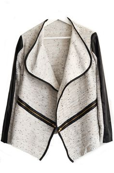 {  Asymmetrical Mixed Knit Leather Trim Cardigan }