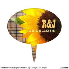 western country plaid sunflower wedding cake topper