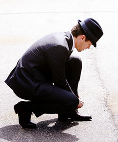 He even looks perfect tying his shoe. I. On the other hand look like the Michelin man tying a shoe.