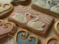 Swan wedding cookies by sweetambs.com