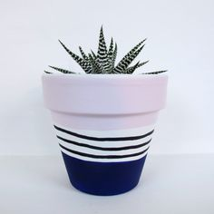 Hand Painted Plant Pot Pink/Blue Stripe by ThisWayToTheCircus on Etsy www. Terracotta Plant Pots, Painted Plant Pots, Painted Flower Pots, Terracotta Paint, Blue Plants, Potted Plants, Pottery Painting, Diy Painting, Flower Pot Design