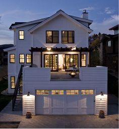 Farmhouse Exterior Design Ideas, Pictures, Remodel and Decor Modern Farmhouse Exterior, Farmhouse Design, Farmhouse Decor, Garage Design, Deck Design, Window Design, Interior Exterior, Exterior Design, Deck Over