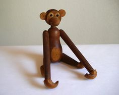 Vintage Zoo Line Large Wooden Monkey by TheThriftyScout on Etsy