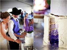 Purple ombre wedding cake | Kendall Price Photography