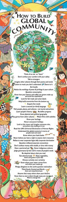 Poster - How To Build Global Community | Syracuse Cultural Workers