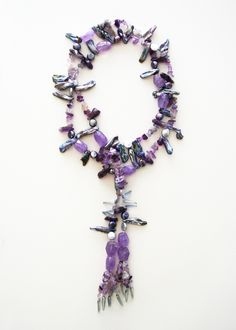 DivinoDon Neckalce made of Amethyst and pearls. Find more at www.divinodon.com