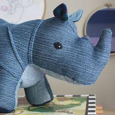 Cutest Crafts Made from Recycled denim: Denim stuffed rhino!