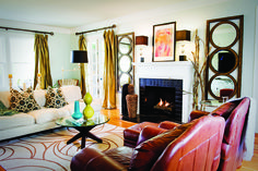Cozy, Contemporary Style... mirrors, branches, pop of citrus and turquoise