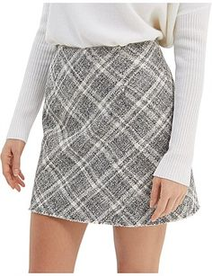 Women - MARCELLE WRAP MINI SKIRT A Line Mini Skirt, Mini Skirts, Tweed Fabric, Plaid Skirts, Tartan Plaid, Sequin Skirt, Model, Cotton, How To Wear
