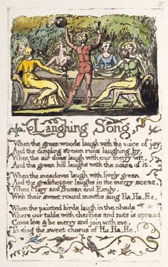 """Songs of Innocence and of Experience, object 17 (Bentley Erdman Keynes """"Laughing Song"""" (copy A, British Museum, London) Blake Poetry, William Blake Art, Songs Of Innocence, English Poets, Magick Spells, Dali, British Museum, Great Artists, Book Design"""