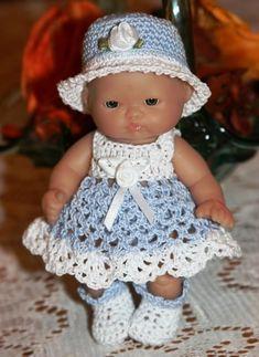 PDF PATTERN Crochet 5 inch Berenguer Baby Doll Eyelet Sundress Set