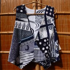 Vintage Yukata Kimono Patchwork Vest- Reversible. Great with Jeans and a T-Shirt!