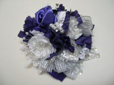 Purple Passion White Wedding Hair Piece Regal Royal OOAK Fascinator Bow Over the Top Flower Girl Adult child Women Dressy Elegant