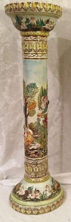 Capodimonte Pedestal Column, marked Italy.