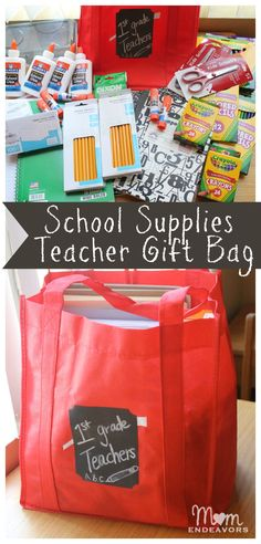 Make a school supplies teacher gift bag to donate to your school! Such a great back to school idea! #bagitforward