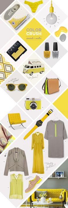 Yellow Color Board | See more inspirations at http://www.brabbu.com/en/inspiration-and-ideas/ #MoodBoardIdeas #MoodBoardDesign #MoodBoardFashion