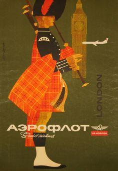 Affiche London   Aeroflot  Circa 1960   Soviet Airlines