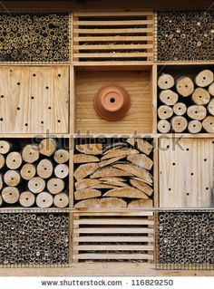 It is used for attract good bugs insects for garden plants insect hotels should be close enough to shrubs, trees, garden to provide food for them. Bug Hotel, Garden Bugs, Garden Shrubs, Garden Plants, Plant Insects, Bugs And Insects, Wild Bees, Mason Bees, Garden Animals