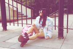 Wildfox Couture Granny Frames, Nasty Gal Sulley Jacket, Tunnel Vision Champagne Lace Shorts, Unif Leopard Hellbounds, Pink Backpack
