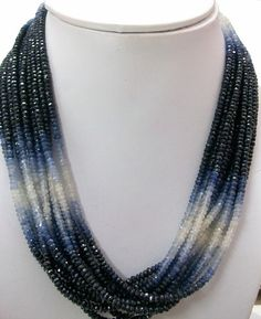 Items similar to Blue Sapphire Shaded Beads Rondelle Faceted Gemstone, Natural Genuine BLUE SAPPHIRE shaded AAA quality Faceted beads Rondelle gemstone on Etsy Sapphire Stone, Sapphire Diamond, Blue Sapphire, Beaded Jewelry, Beaded Necklace, Handmade Jewelry, Necklaces, Blue Chalcedony, Necklace Designs
