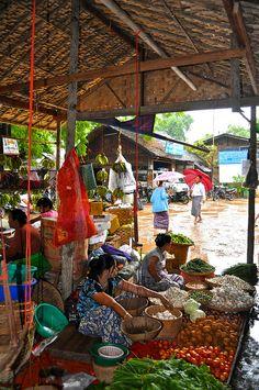 Sheltered from the Storm - market, Nyaungu, Mandalay, Myanmar