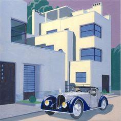 Alain Roux - Peinture  Acrylique Auto Voisin rue Mallet Stevens Tumblr  Archiroux.com