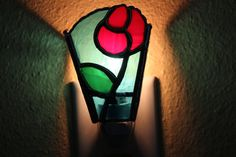 The Stained Glass Red Rose Night Light  Home by Stainedglasslove, $20.00