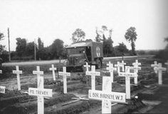 A temporary graveyard in The Netherlands, 1945. Great pains were taken to identify properly the name, unit, and location of the remains of every fallen soldier, which were eventually transferred to one of the hundreds of Commonwealth War Graves.