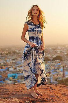 Anthropologie Skyscape Maxi Dress Size S Blue Tie Dye High-Low Hem By The Odells