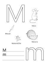 Arbeitblatt für den Buchstaben M