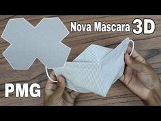 Nova Máscara 3D com elástico ajustável | New 3D Mask with adjustable elastic - YouTube Easy Face Masks, Diy Face Mask, Small Sewing Projects, Fabric Bags, Diy Mask, Sewing Techniques, Nova, Sewing Patterns, Youtube